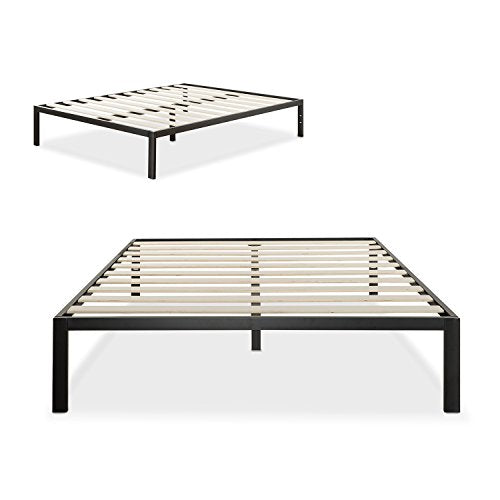Zinus Modern Studio 14 Inch Platform 1500 Metal Bed Frame, Mattress Foundation, no Boxspring needed, Wooden Slat Support, Good Design Award Winner, Black, Queen