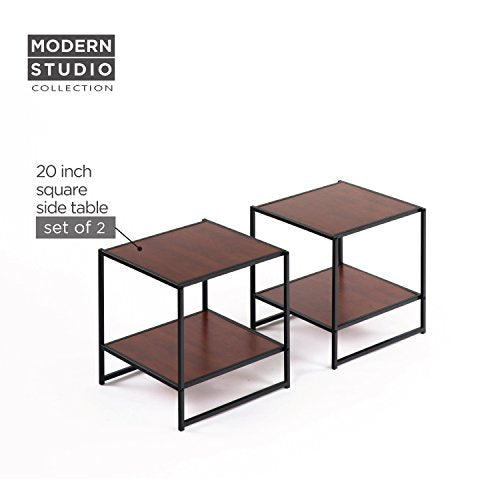 Zinus Modern Studio Collection Set Two 20 Inch Square Side/End Tables/Night Stands