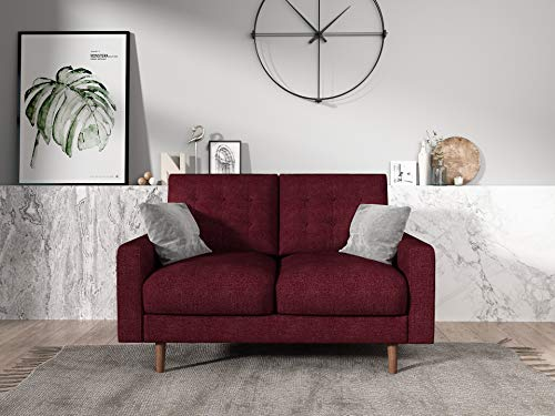 Container Furniture Direct Matte Velvet Mid Century Modern Tufted Living Room Loveseat, 50.4