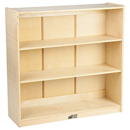 "ECR4Kids 36"" H Birch Bookcase with Adjustable Shelves, GREENGUARD Gold Certified Wooden Bookshelf Organizer for Kids, 3 Storage Shelves, Shelving Units and Storage, Natural"