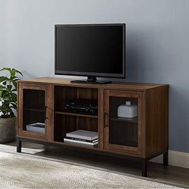 "Walker Edison Modern Glass and Wood Universal Stand with Open TV's up to 58"" Flat Screen Living Room Storage Entertainment Center, 52 Inch, Dark Walnut (AZ52AV2DDW)"