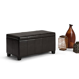 Simpli Home Dover Rectangular Storage Ottoman, Tanners Brown