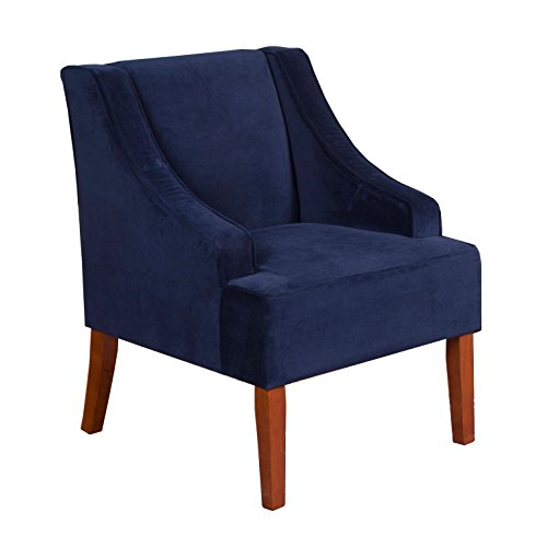 HomePop Velvet Swoop Arm Accent Chair, Navy