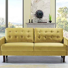 "Container Furniture Direct Celestina Mid Century Modern Velvet Upholstered Living Room Sofa, 74.8"", Strong Yellow"