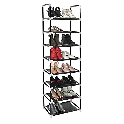 ERONE Shoe Rack Organizer 8 Tiers, Stackable and Durable Shoe Shelf Storage 16 Pairs Metal Shoe Tower Space Saving 18
