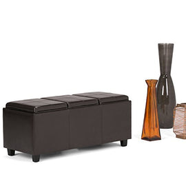 Simpli Home Avalon Faux Leather Rectangular Storage Ottoman 3 Serving Trays, Large, Tanners Brown