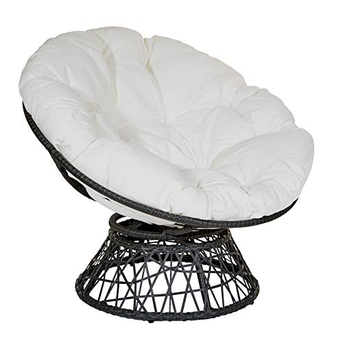 OSP Designs Papasan Chair with 360-degree Swivel, White Cushion and Black Frame