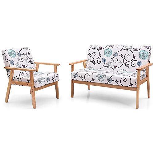 Giantex Mid-Century Wooden Loveseat Accent Chair Set, Upholstered Wooden Lounge Accent Chair w/Rubber Wood, Pretty Pattern, 2-Seat Arm Sofa Couch and Chair Living Room Furniture Set