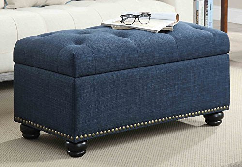 Convenience Concepts Designs4Comfort 7th Avenue Storage Ottoman, Blue Fabric