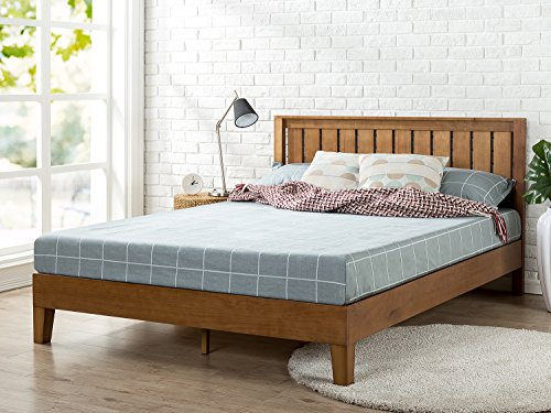 Zinus 12 inch Deluxe Wood Platform Bed with Headboard/No Box Spring Needed/Wood Slat Support/Rustic Pine Finish, Queen