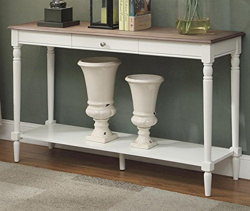 Convenience Concepts French Country Console Table with Drawer and Shelf, Driftwood / White