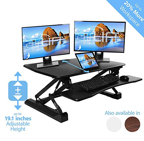 Seville Classics airLIFT Height Adjustable Stand Up Desk Converter/Riser - Keyboard Tray, Dual Monitors, Quick Lift Levers Ergonomic Table, Full (36