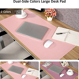Large Desk Pad Mouse Pad, Aisakoc 35.4x15.75 Inches Non-Slip PU Leather Desk Mouse Mat Waterproof Desk Pad Protector Gaming Writing Mat for Office Home Desks (Pink and Purple)