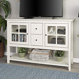 Walker Edison Furniture Company Rustic Farmhouse Wood Buffet Storage Cabinet Living Room, 52 Inch, White