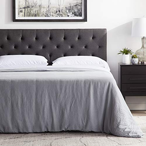 "LUCID Mid-Rise Upholstered Headboard - Adjustable Height from 34"" to 46"", Queen, Charcoal"