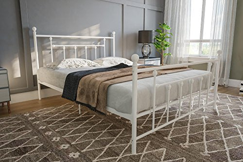 DHP Manila Metal Bed with Victorian Style Headboard and Footboard, Includes Metal Slats, Full Size, White