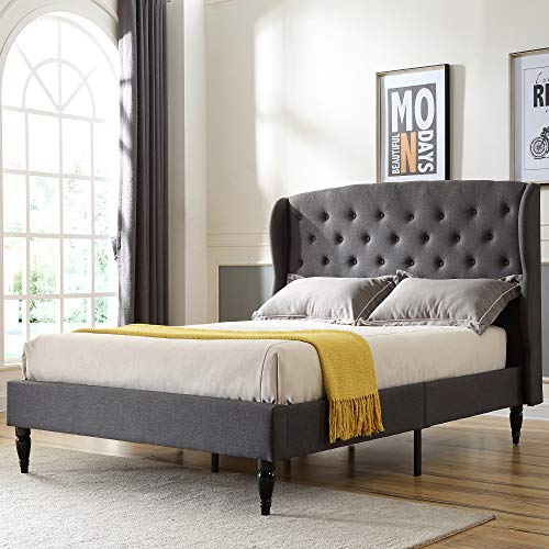 Classic Brands Coventry Upholstered Platform Bed | Headboard and Metal Frame with Wood Slat Support, Full, Grey