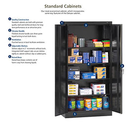 "Tennsco 7218 24 Gauge Steel Standard Welded Storage Cabinet, 4 Shelves, 150 lbs Capacity per Shelf, 36"" Width x 72"" Height x 18"" Depth, Black"