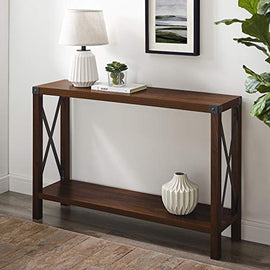 Walker Edison Furniture Company Barnwood Farmhouse Wood Rectangle Accent Entryway Table Sideboard Living Room Storage Shelf, 46 Inch, Dark Walnut