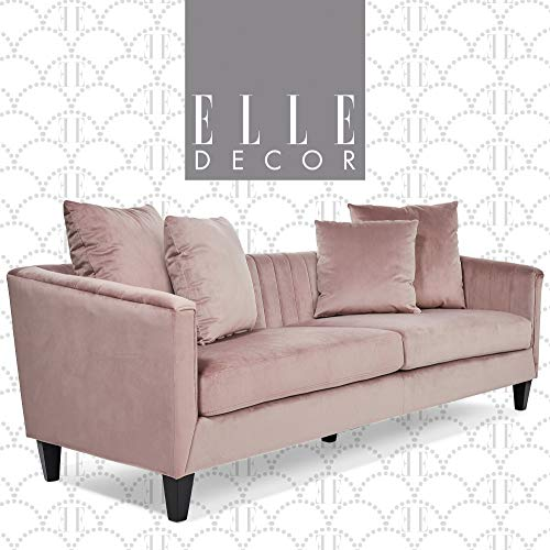 Elle Decor Celeste Upholstered Mid-Century Channel Tufted Sofa, Microfiber Couch for Living Room, 90