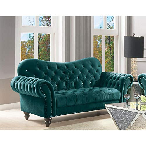 Modern Tufted Rolled Arm Velvet Loveseat Couch for Living Room, Traditional Chesterfield Loveseat Sofa, Mid Century Sofa Velvet Fabric Upholster Couch Futon Bench Loveseat Ship from USA