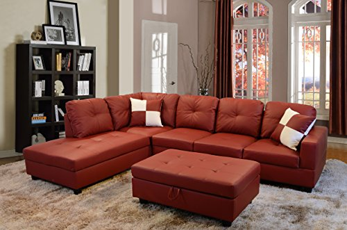 Beverly Fine Furniture Left Facing Russes Sectional Sofa Set With Ottoman, RED