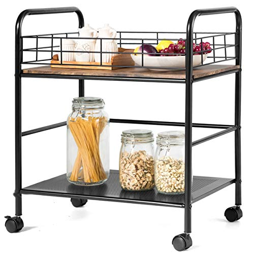 Giantex 2-Tier Kitchen Island Cart, Rolling Storage Cart, Kitchen Trolley with Top Guardrail and Handle, Lockable Casters, Industrial Style Metal Storage Utility Cart (Rustic Brown & Black)