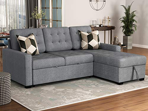 Upholstery Sectional Sofa Convertible Sectional Sofa Couch, L-Shaped Couch with Modern Linen Fabric for Small Space, Reversible 3 Piece (Custom Couch Feature) Modern L-Shaped Sectional Sofa (Grey)