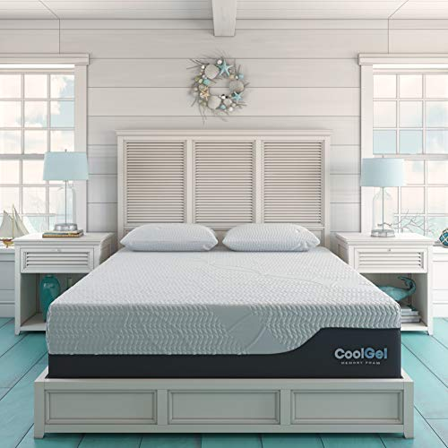 Classic Brands Cool Gel 2.0 Ultimate Gel Memory Foam 14-Inch Mattress with 2 BONUS Pillow , King, White