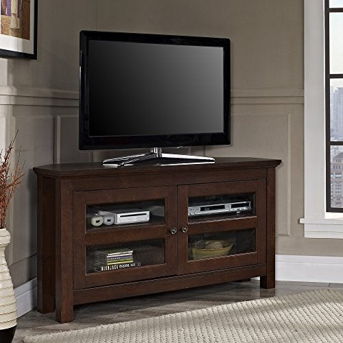 Walker Edison Modern Farmhouse Wood Corner Universal Stand for TV's up to 50