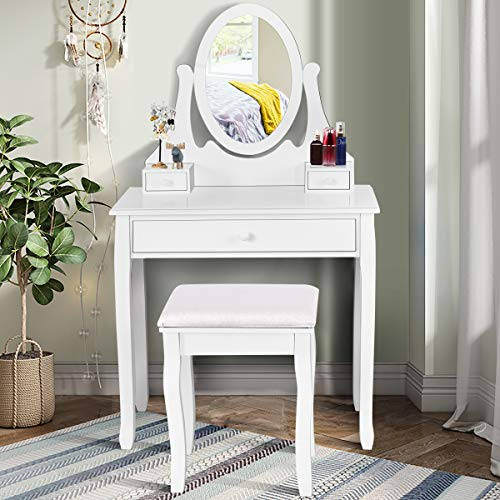 Giantex Vanity Set with Oval Mirror and Cushioned Stool, Makeup Dressing Table with 3 Drawers, Modern Bathroom Bedroom Makeup Organizer Vanity Table for Women Girls Gifts, White