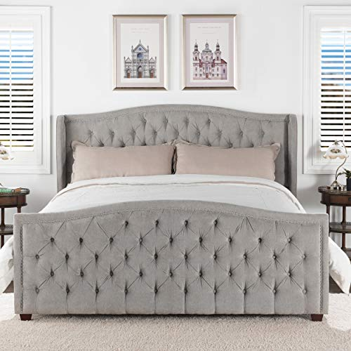 Jennifer Taylor Home Marcella Tufted Wingback Upholstered Bed - King (Silver Grey)