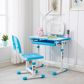 Mecor Children's Desk Chair Set Height Adjustable Kids Student School Study Table Work Station with Lamp/Storage,Blue