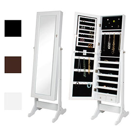 Best Choice Products Mirrored Jewelry Cabinet Armoire w/Stand Rings, Necklaces, Bracelets - White