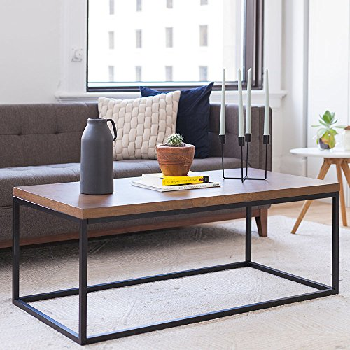 Nathan James 31101 Doxa Solid Wood Modern Industrial Coffee Table, Black Metal Box Frame Dark Walnut Finish