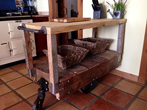 French Country Primitive Industrial Kitchen Island Cart