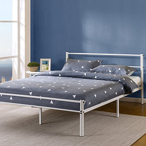 Zinus Geraldine 12 inch White Metal Platform Bed Frame with Headboard and Footboard / Premium Steel Slat Support / Mattress Foundation, Queen
