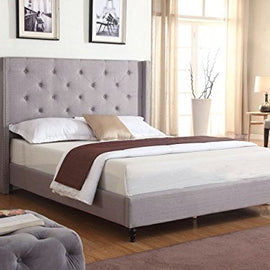 "Home Life Premiere Classics Cloth Light Grey Silver Linen 51"" Tall Headboard Platform Bed with Slats Queen- Complete Bed 5 Year Warranty Included-007"