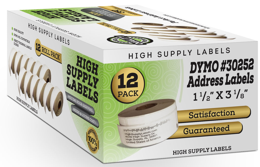 12 Rolls Compatible DYMO 30252 Self-Adhesive Standard Address White Paper  Label 1-1/8