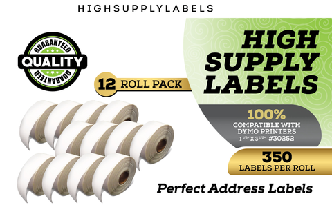 """High Supply Labels - 12 Rolls DYMO 30252 Compatible Address & UPC Barcodes  1-1/8"""" X 3-1/2"""" Replacement Labels for LW Labelwriter 450, 450 Turbo,"""