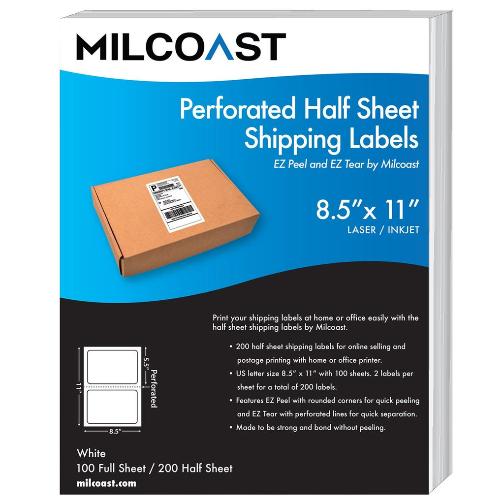 d3b67364b6622 Milcoast Perforated Half Sheet Adhesive Shipping Labels – EZ Peel and EZ  Tear, for Laser or Inkjet Printers - for Shipping, FBA, UPS, USPS, FedEx  (100 ...