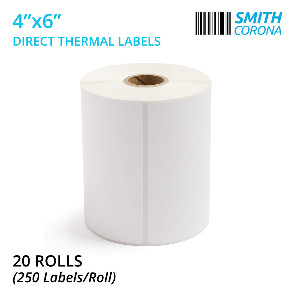 Smith Corona - 20 Rolls of 4x6 Direct Thermal Labels (250 Labels/Roll) -  Perfect for Zebra Printers - Made in The USA | 5000 Labels Total