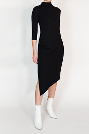 Black Three Quarter Bodycon midi sustainable dress mock neck