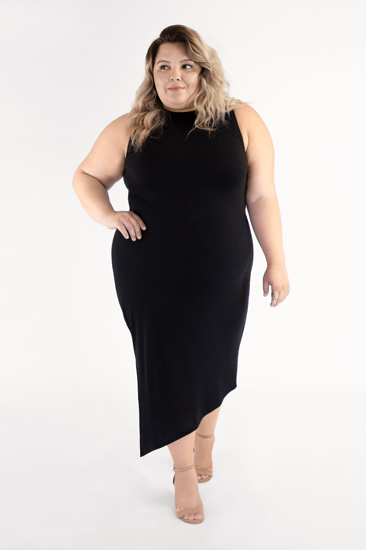 Black Bodycon midi sustainable dress