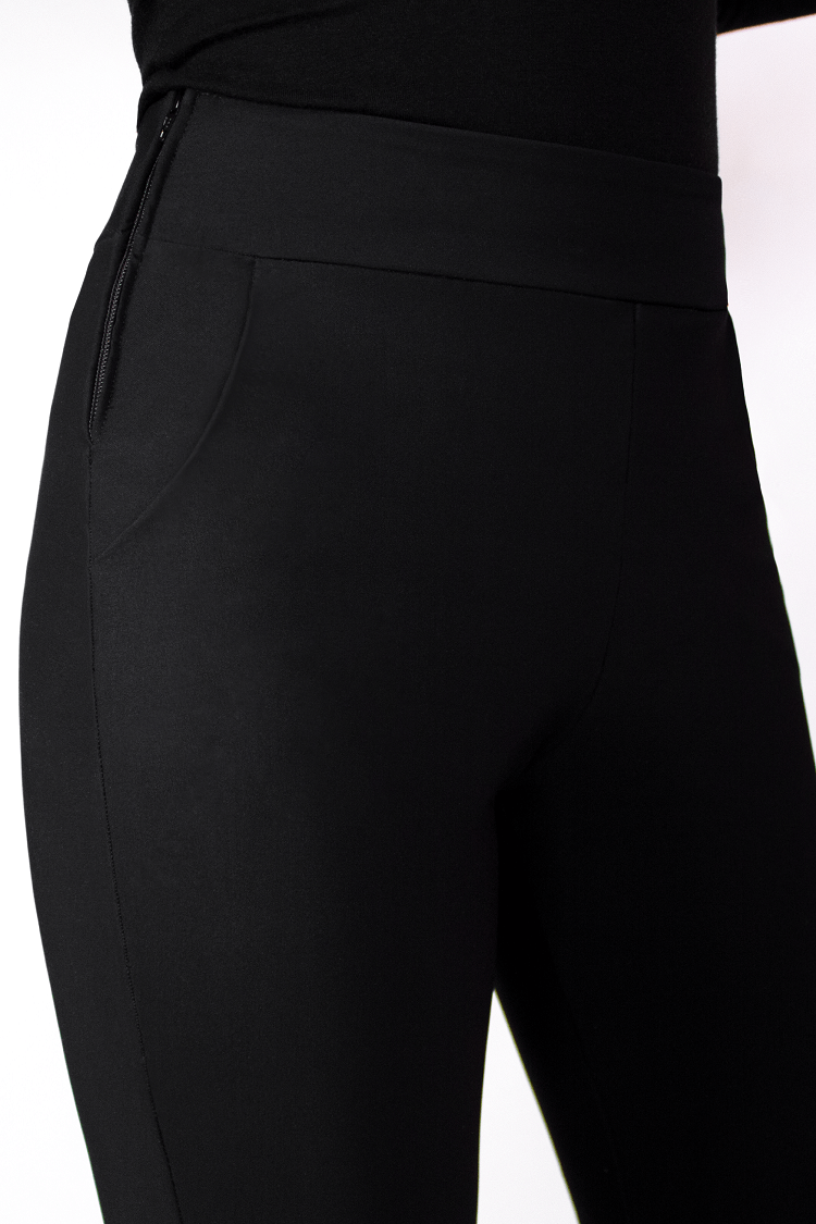 Black Cigarette Pants with pockets side YKK zippers