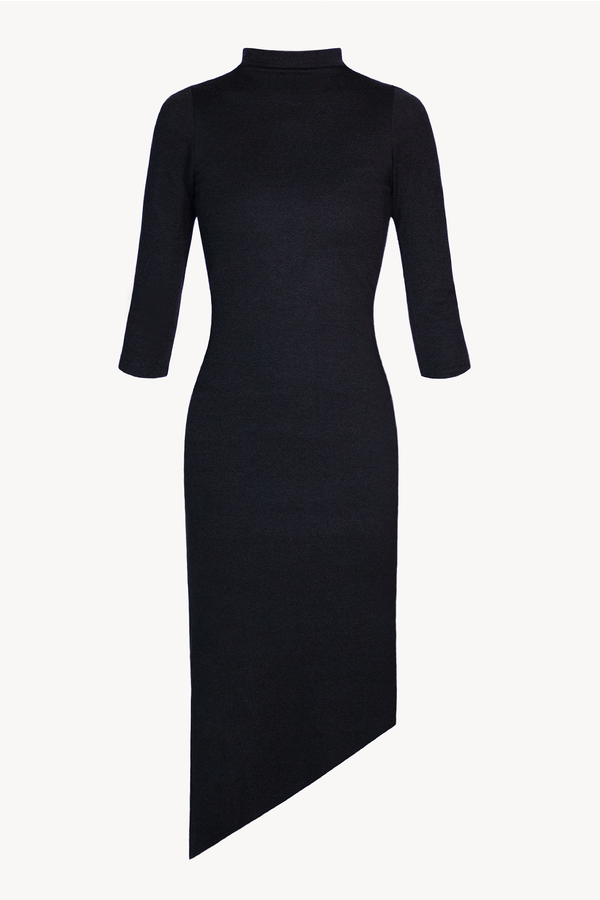 Black Three Quarter 3/4 Bodycon midi sustainable dress mock neck