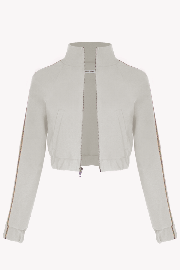Cropped Track Jacket - Sand Stone- with Floral Trim - Pockets