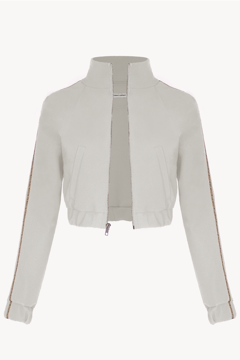 Cropped Track Jacket - Beige - with Floral Trim - Pockets