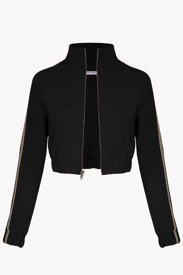 Cropped Track Jacket - Black - with Floral Trim