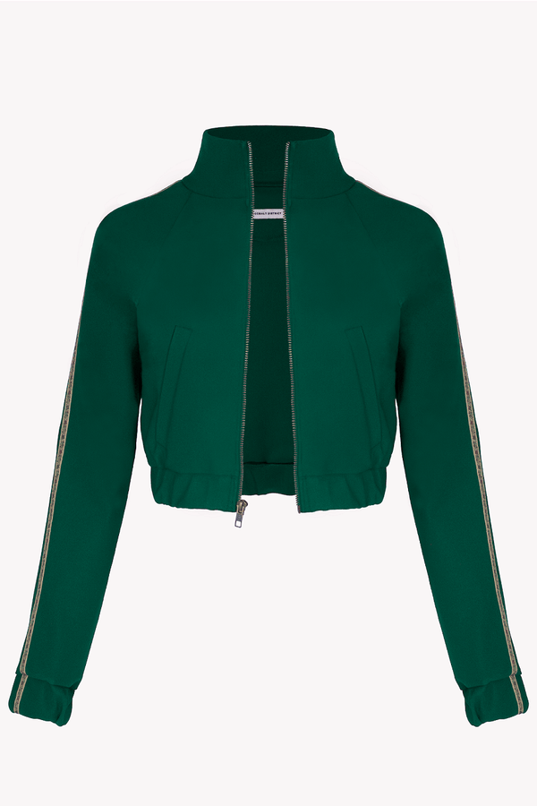 Cropped Track Jacket Deep Emerald Green with Floral Trim